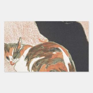 Watercolor - 2 Cats - Théophile Alexandre Steinlen Rectangular Sticker