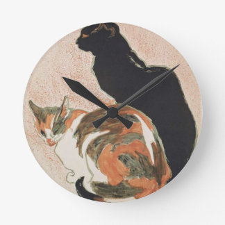 Watercolor - 2 Cats - Théophile Alexandre Steinlen Round Clock