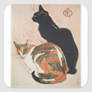 Watercolor - 2 Cats - Théophile Alexandre Steinlen Square Sticker