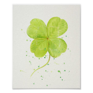 Watercolor 4 leaf clover, lucky clover poster