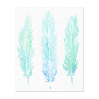 Watercolor abstract aqua feathers canvas print