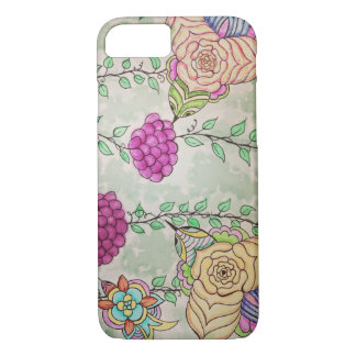 Watercolor abstract birds and vines drawing iPhone 7 case