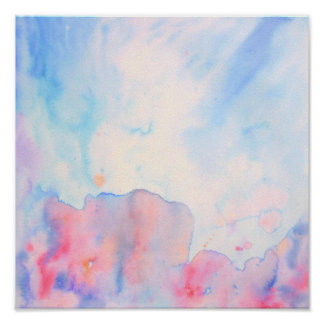Watercolor Abstract Blue Landscape Print