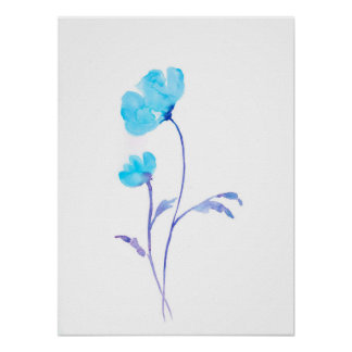 Watercolor Abstract Blue Poppy Poster