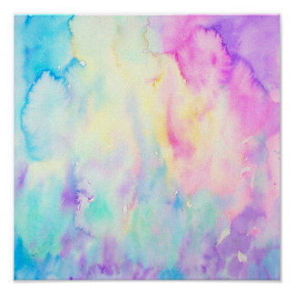 Watercolor Abstract Blue Purple Landscape Print