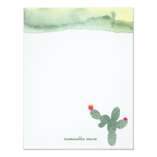 Watercolor Abstract Cactus Thank You Note Card