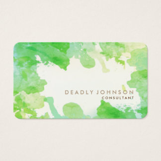 Watercolor Abstract Cool Nature Green Vintage Business Card
