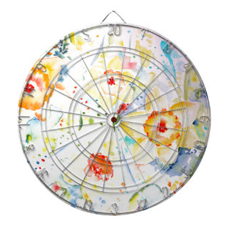 Watercolor Abstract Daffodils Pattern Dartboards
