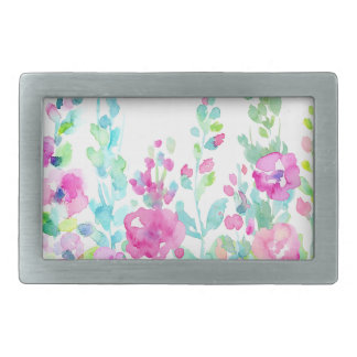 Watercolor abstract floral bed belt buckle