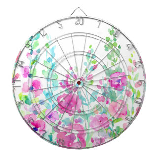 Watercolor abstract floral bed dartboard