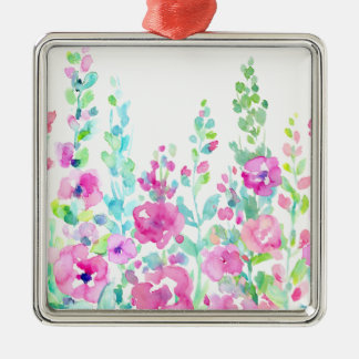 Watercolor abstract floral bed metal ornament