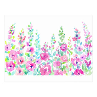 Watercolor abstract floral bed postcard