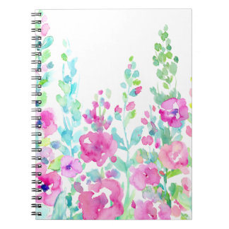 Watercolor abstract floral bed spiral notebook