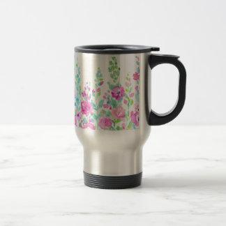 Watercolor abstract floral bed travel mug