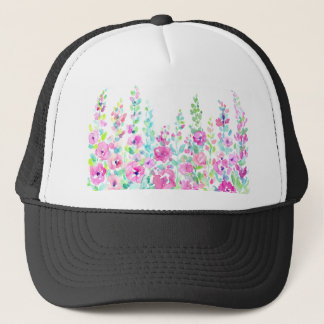 Watercolor abstract floral bed trucker hat
