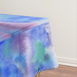 Watercolor Abstract Hand-Painted Blue Purple Teal Tablecloth
