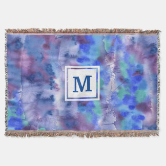 Watercolor Abstract Hand-Painted Blue Purple Teal Throw Blanket