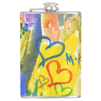 Watercolor Abstract Hearts Colorful Random Paint Hip Flask