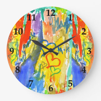 Watercolor Abstract Hearts Colorful Random Paint Large Clock
