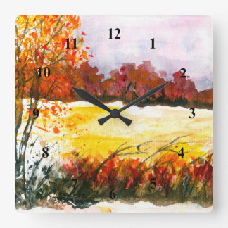 Watercolor Abstract Landscape Art Autumn Trees Clocks