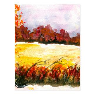 Watercolor Abstract Landscape Art Autumn Trees Postcard