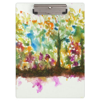 Watercolor Abstract Landscape Art Trees Forest Clipboard