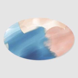 Watercolor Abstract Oval Sticker