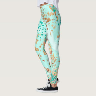 Watercolor Abstract Pastel Feathers Leggings