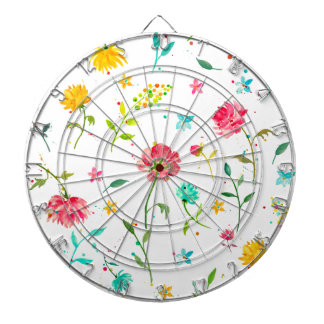 Watercolor Abstract Peony Dart Board