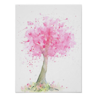 Watercolor Abstract Pink Cherry Tree Poster
