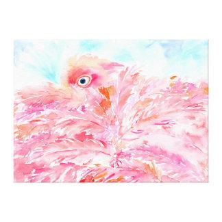 Watercolor abstract pink flamingo canvas print
