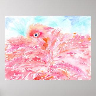 Watercolor abstract pink flamingo poster