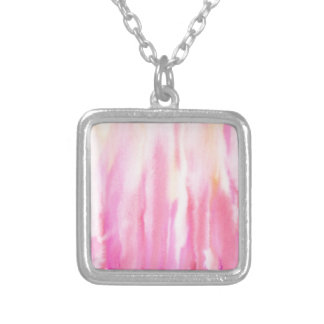 Watercolor abstract pink stripe pattern silver plated necklace