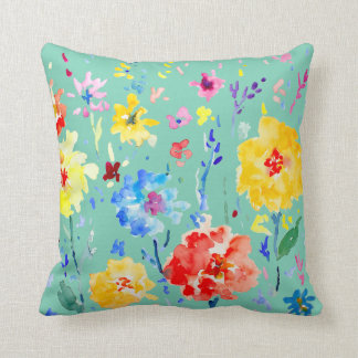 Watercolor Abstract poppy Cushion Blue background