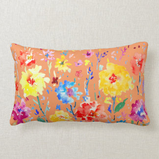 Watercolor Abstract poppy Pillow Blue background