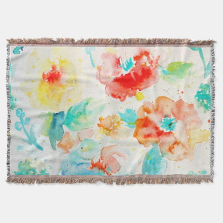 Watercolor Abstract Poppy Throw Rug