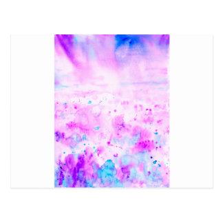 Watercolor Abstract Purple Meadow Postcard