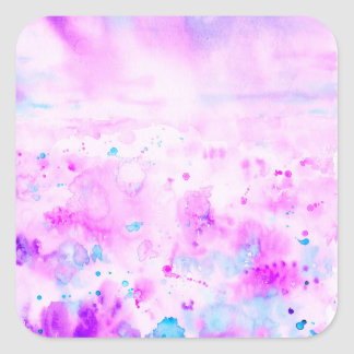 Watercolor Abstract Purple Meadow Square Sticker