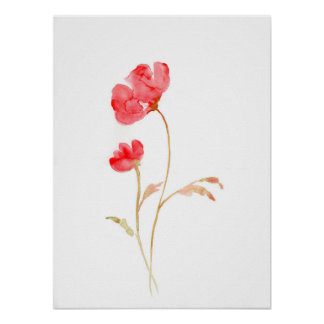 Watercolor Abstract Red Poppy Poster