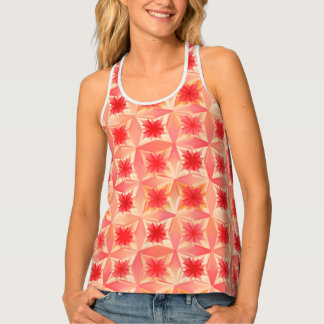 Watercolor Abstract Stars, Coral Orange and Peach Singlet