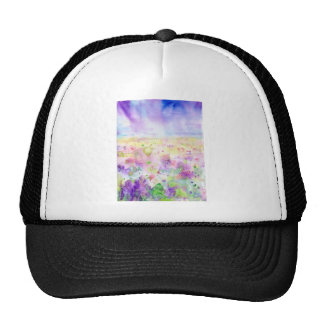 Watercolor abstract wildflower meadow painting cap