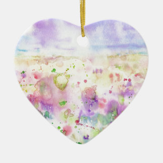 Watercolor abstract wildflower meadow painting ceramic ornament