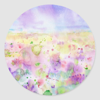 Watercolor abstract wildflower meadow painting classic round sticker