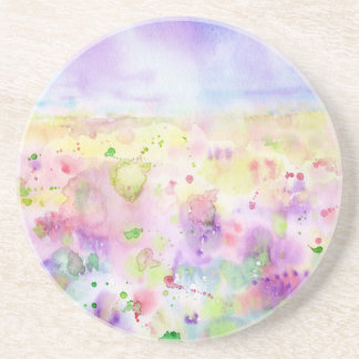 Watercolor abstract wildflower meadow painting coaster