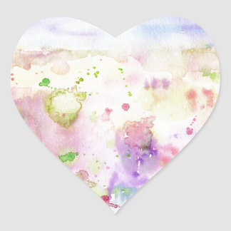 Watercolor abstract wildflower meadow painting heart sticker
