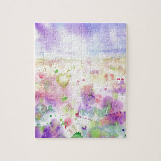 Watercolor abstract wildflower meadow painting jigsaw puzzle