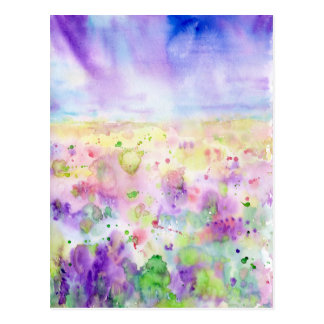 Watercolor abstract wildflower meadow painting postcard