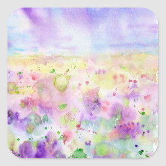 Watercolor abstract wildflower meadow painting square sticker