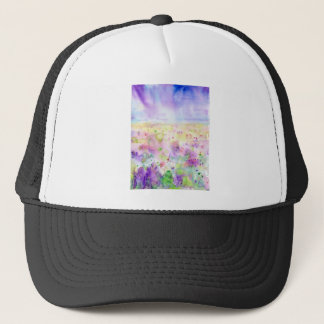 Watercolor abstract wildflower meadow painting trucker hat