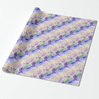 Watercolor abstract wildflower meadow painting wrapping paper